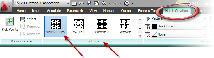 AutoCAD hatch menu palette