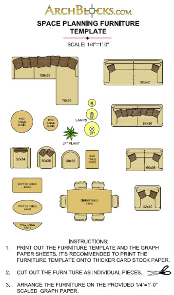 free printable furniture templates 1/8 scale » freedownload