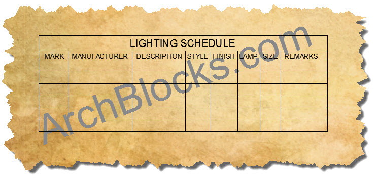 AutoCAD Lighting Schedule