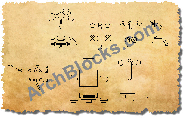Bathtub Faucets CAD Symbols