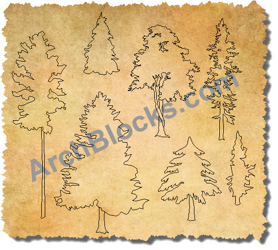 AutoCAD Trees in Elevation View 01