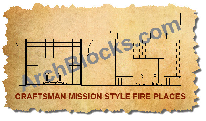Mission style AutoCAD Fireplaces