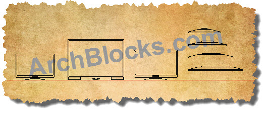 AutoCAD Blocks Symbols Flat Screen TV