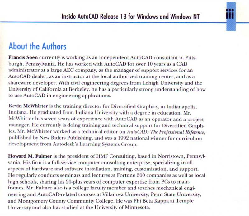 Inside AutoCAD Release 13 About Authors