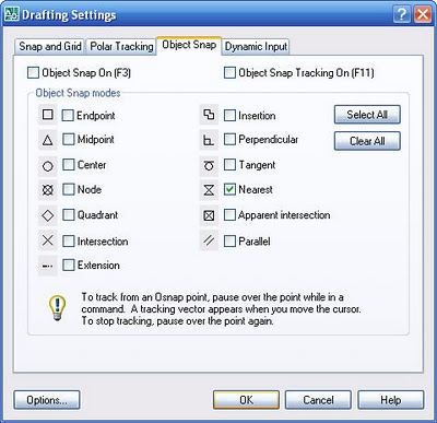 AutoCAD Osnap Settings