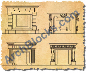 ArchBlocks CAD Symbols Fireplaces
