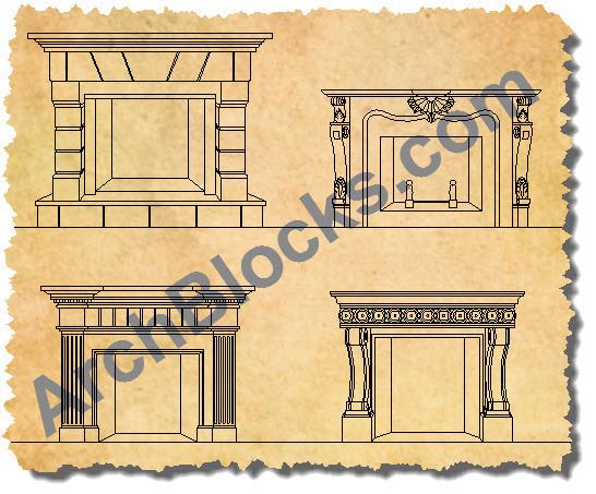 cad symbols fireplaces
