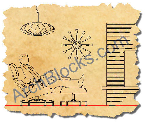 Modern Furniture CAD Symbols, Mid-Century Modern CAD Furniture Blocks, Modern CAD Lighting Symbols