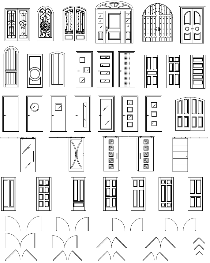 AutoCAD Doors Blocks Library Exterior Door