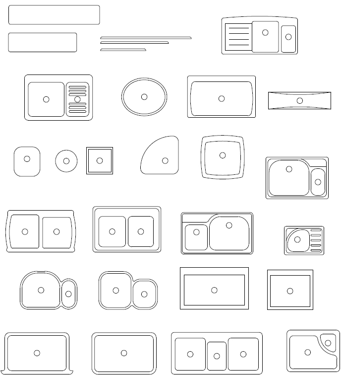 Archblocks Autocad Kitchen Sink Block Symbols