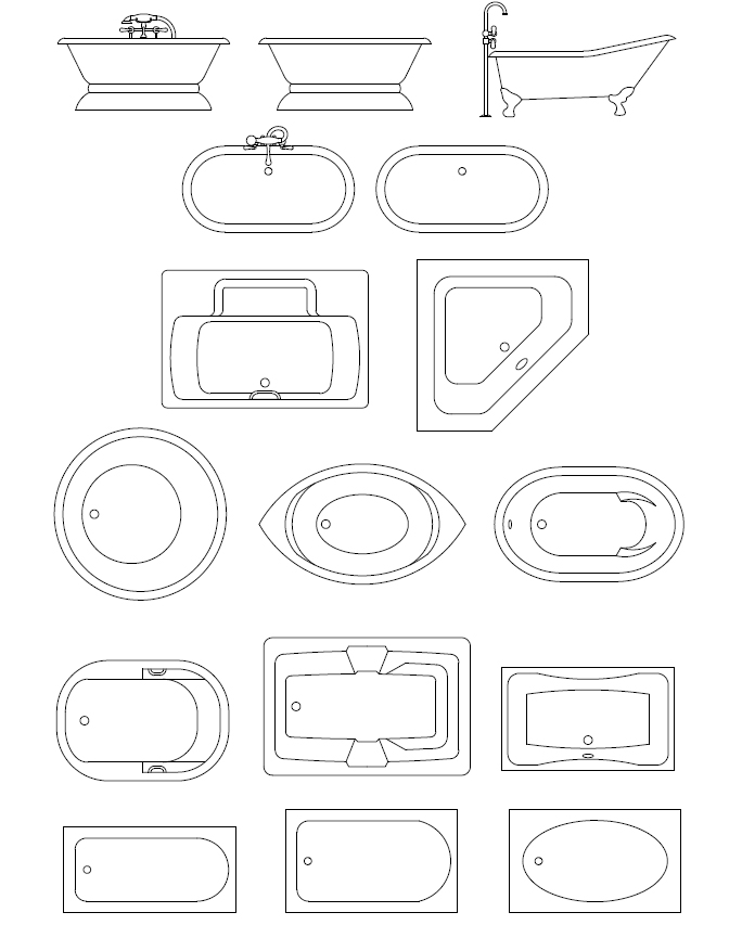 Archblocks Autocad Tubs Amp Spas Block Symbols