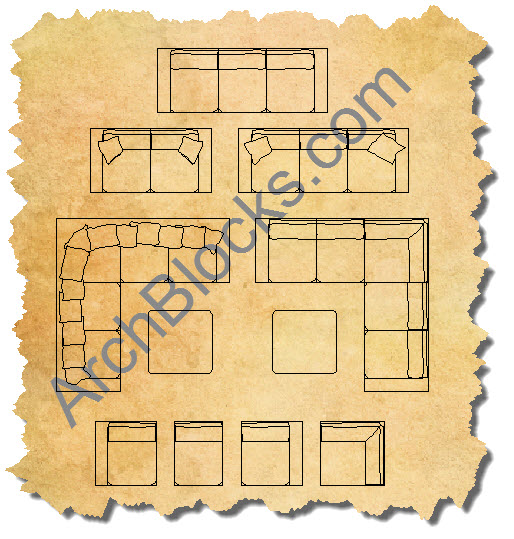 AutoCAD Outdoor Living Sofa Sectional Blocks