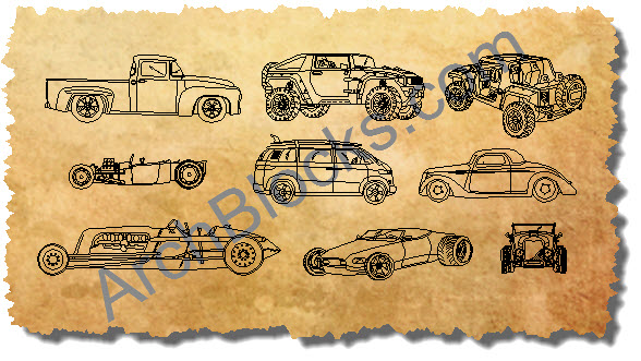 AutoCAD Blocks Hot Rod Cars Trucks
