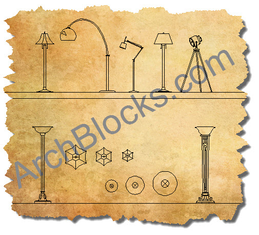 CAD Blocks Floor Lamps