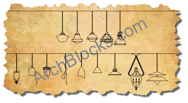 CAD Blocks Lighting Pendants  sc 1 st  ArchBlocks & AutoCAD Lighting Blocks Library - CAD Lamp Symbol - Ceiling Fan ...