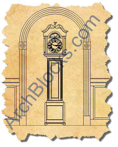 CAD symbol Grandfather Clock-01