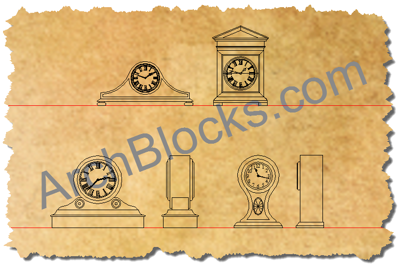 Mantel clocks AutoCAD symbols-02