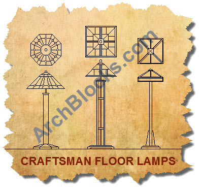 Mission style floor lamps AutoCAD blocks