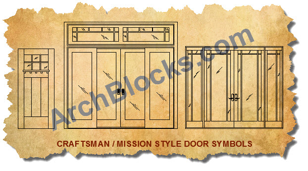 Mission Craftsman CAD Door Symbols