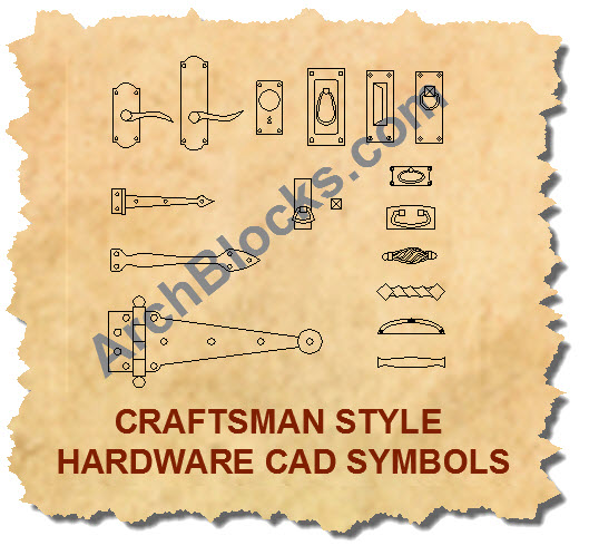 Mission Craftsman style door hardware CAD symbols