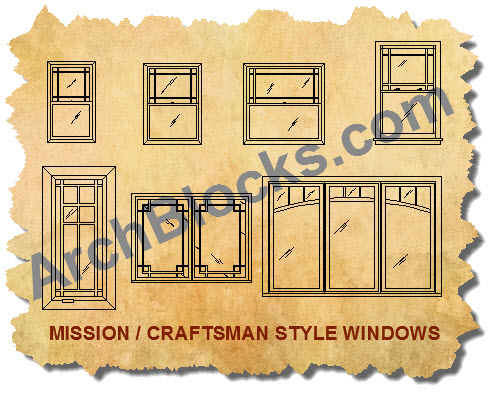 Craftsman Style CAD Symbols of Windows