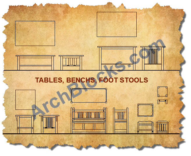 Mission Style Tables AutoCAD Symbols
