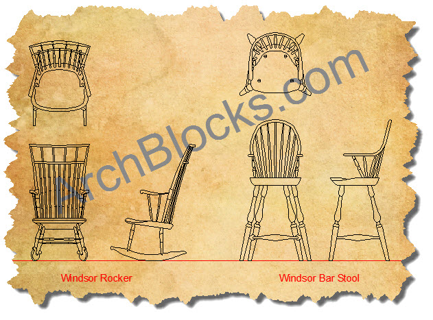 Windsor Chairs AutoCAD Symbols Plan View-04
