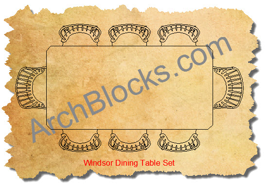 Windsor Dining Table CAD Block