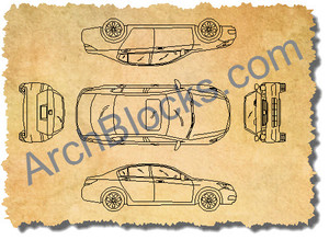 ArchBlocks CAD Blocks Sedan Set
