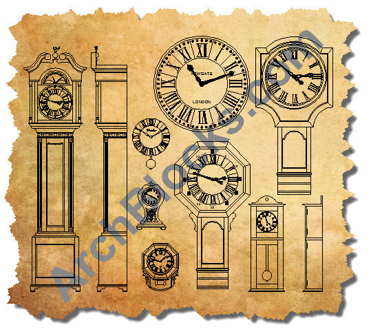 cad symbols of clocks